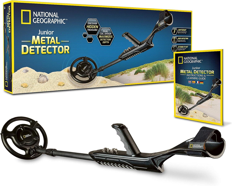National Geographic Junior Detector de Metales – Detector de Metales Ajustable para Niños con Bobina Dual Impermeable de 7, 5