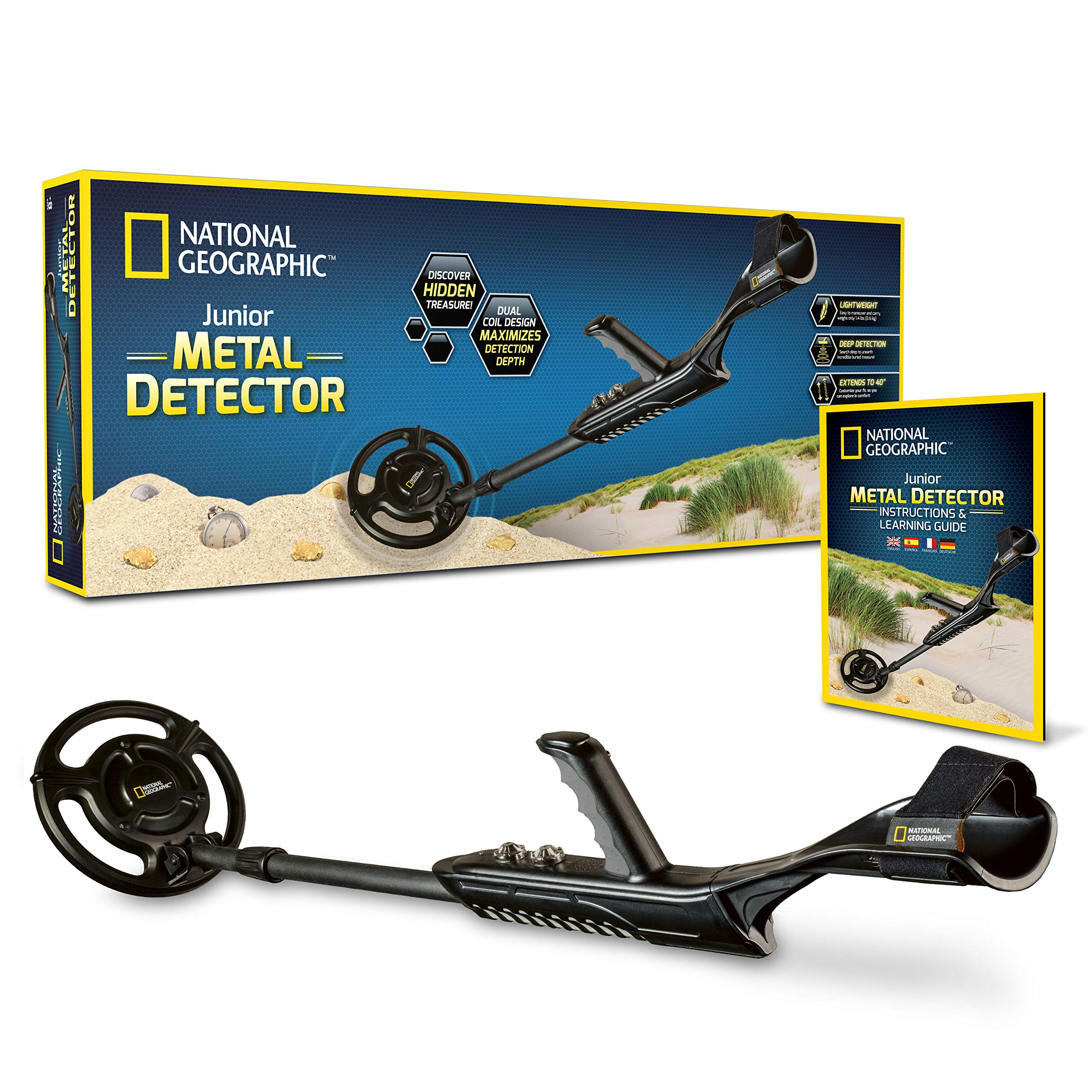 NATIONAL GEOGRAPHIC Junior Metal Detector -Adjustable Metal Detector for Kids with 7.5'' Waterproof Dual Coil, Lightweight Design Great for Treasure Hunting Beginners by NATIONAL GEOGRAPHIC