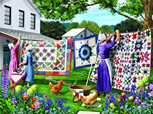 Quilts in The Backyard 500 pc Jigsaw Puzzle by SUNSOUT INC