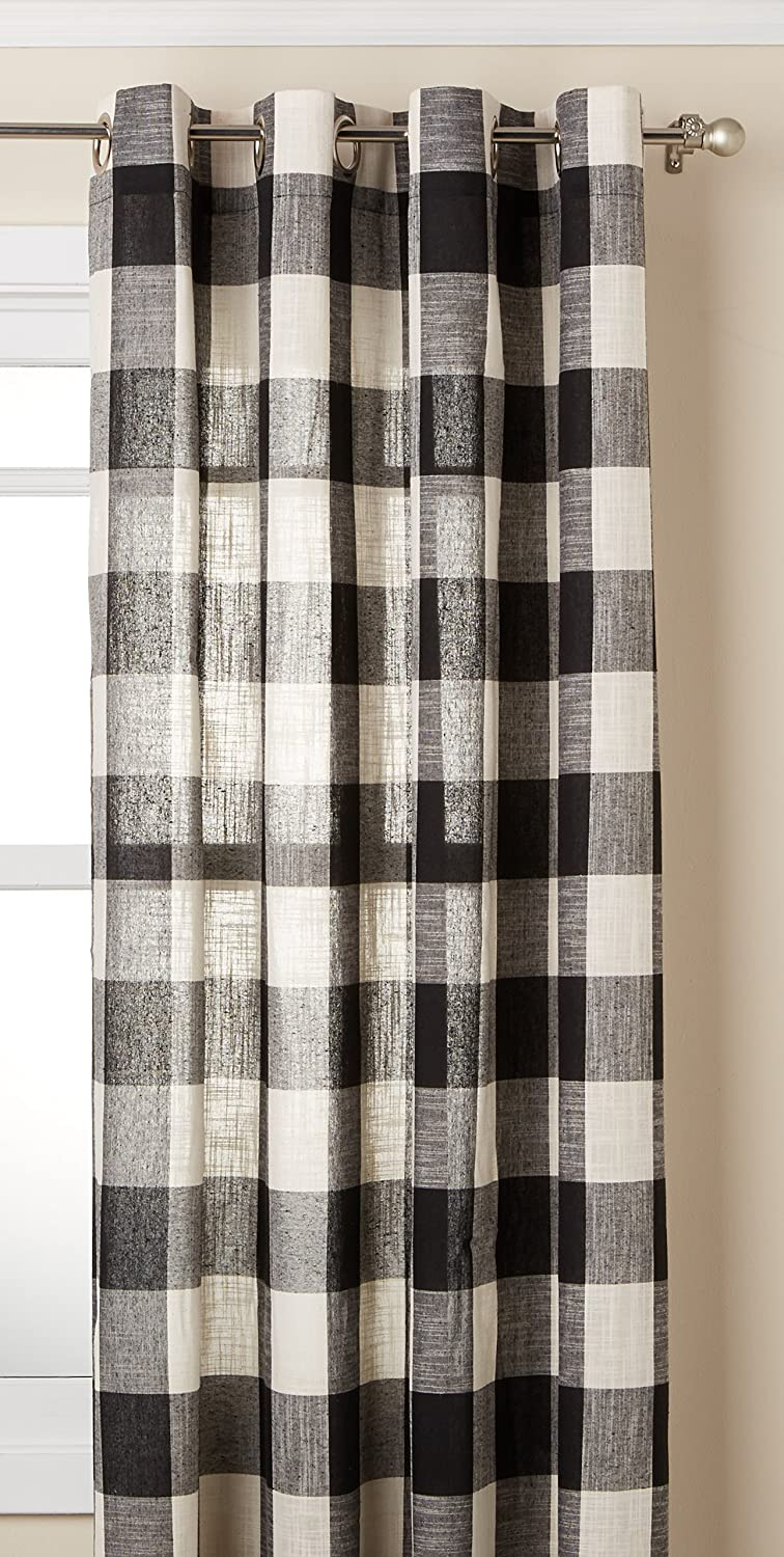 "Lorraine Home Fashions 09570-84-00146 BLACK Courtyard Grommet Window Curtain Panel, Black, 53"" X 84"""
