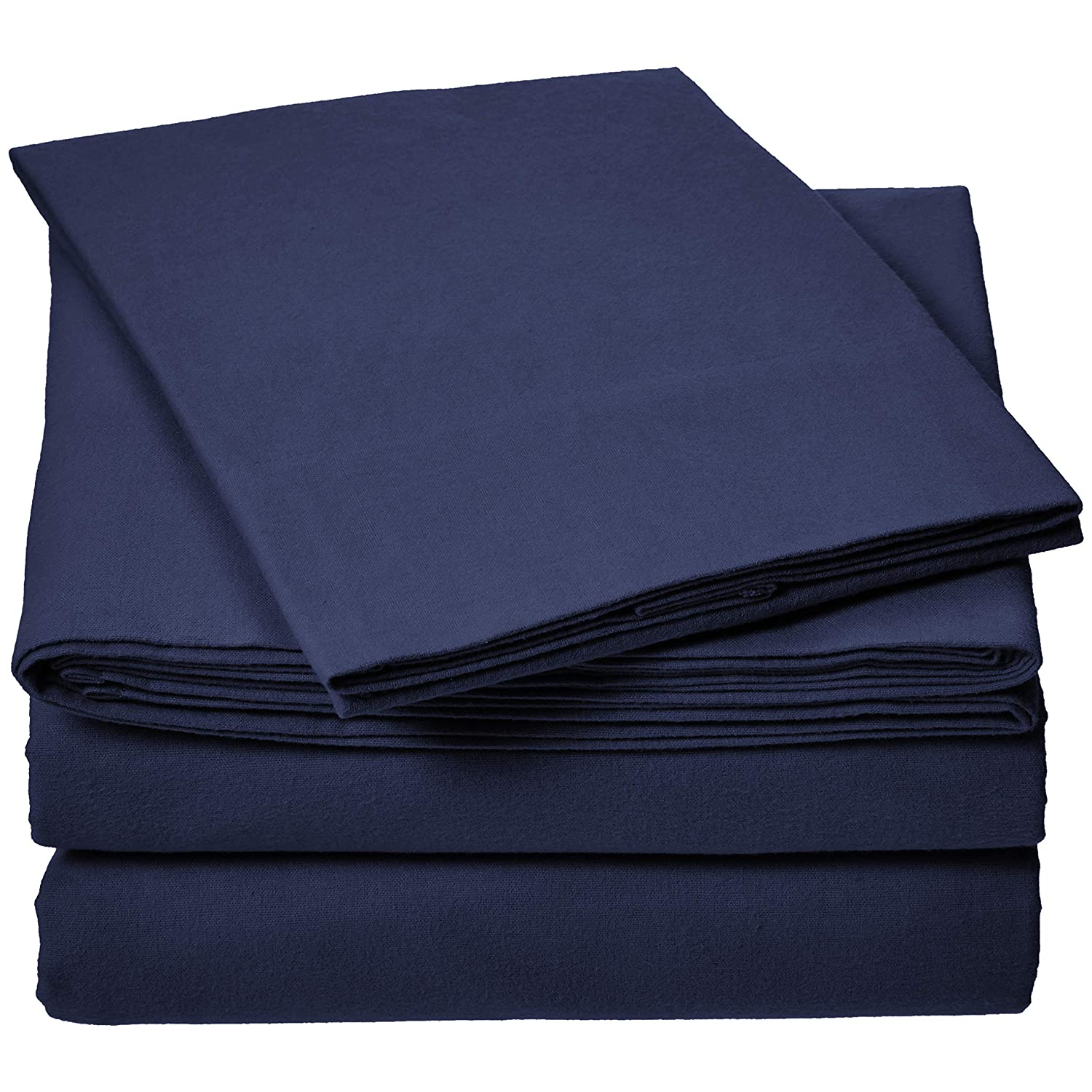 AmazonBasics Everyday Flannel Sheet Set - Navy, Twin