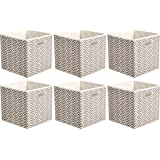 AmazonBasics Collapsible Fabric Storage Cubes with Oval Grommets - 6-Pack, Chevron - Taupe