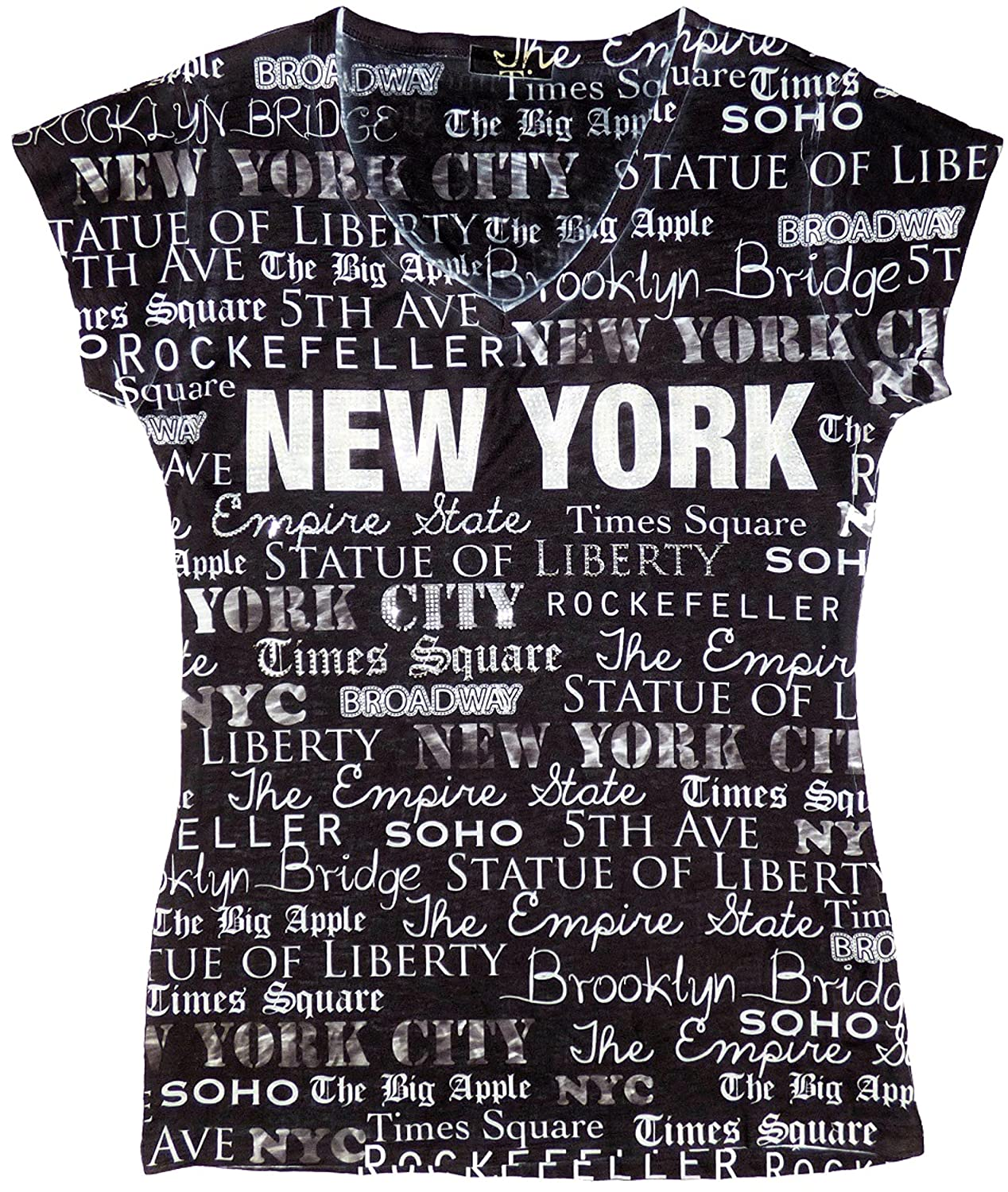 1e9ede97c NYC INSPIRED PRINT: The Sweet Gisele short-sleeved t-shirt features NYC  inspired print with beautifully crafted studded embellishments. This trendy  tee can ...