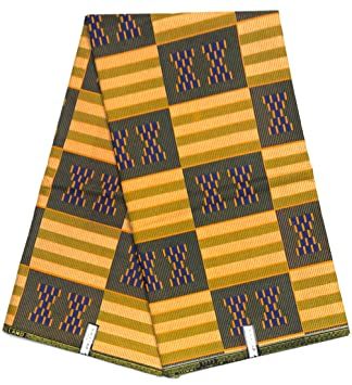 5,48 m WAX PAGNE TISSU AFRICAIN COLLECTION TYPE « SOFT COTON » Coupon 6 YARDS
