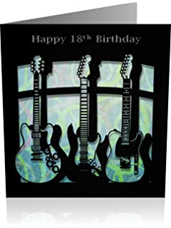 Birthday Card 18th Male Greeting Laser Cut Guitar Design