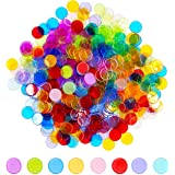 Hebayy 500 Transparent 8 Color Clear Bingo Counting Chip Plastic Markers (Each Measures 3/4 inch in Diameter)