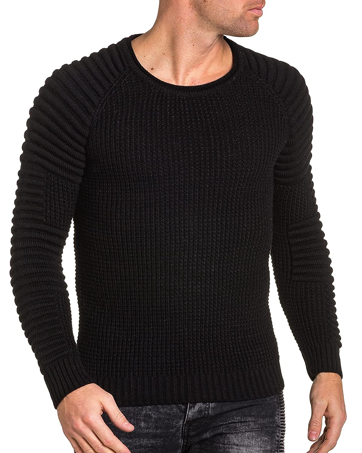 BLZ jeans - Pullover man black ribbed knit