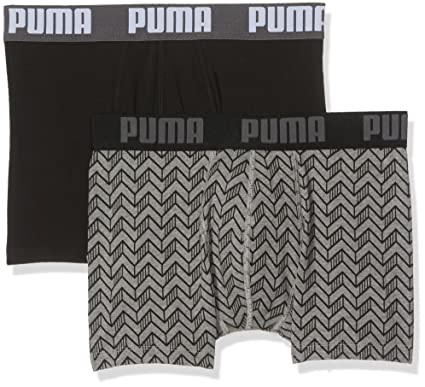 3c3e7cae722 PUMA Men's 2-Pack Graphic Print Boxer Briefs, Grey Melange/Black Small Grey