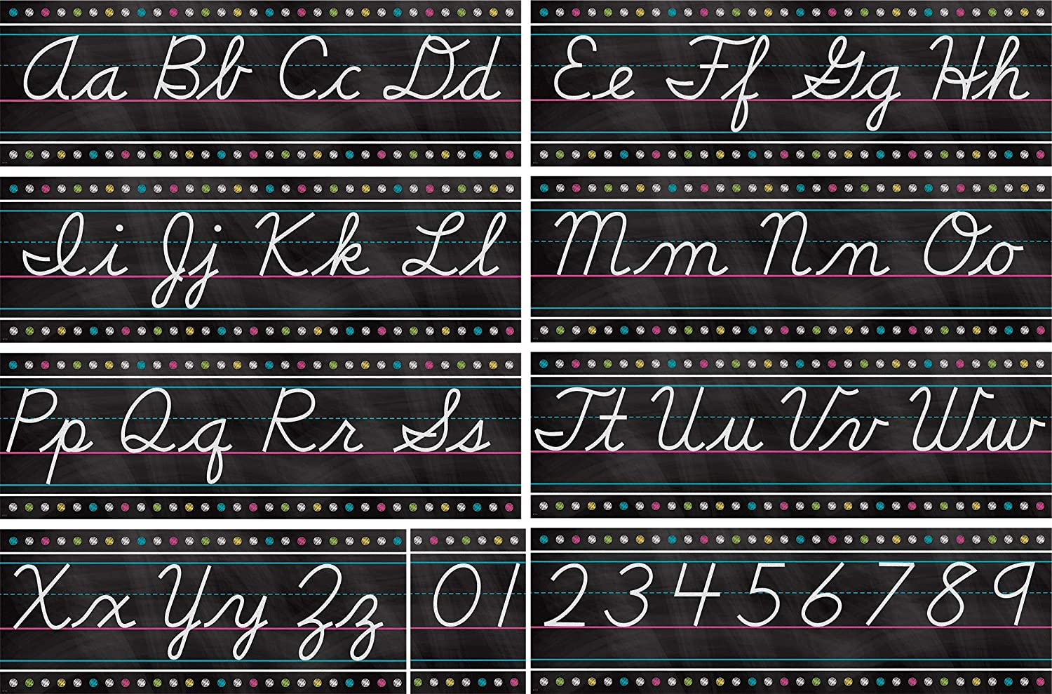 Teacher Created Resources Chalkboard Brights Cursive Writing Bulletin Board Set (TCR5858)