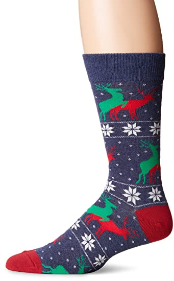 77d8918f2ce Socksmith Men s Naughty Reindeer Games Heather Denim One Size at Amazon  Men s Clothing store