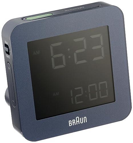 BRAUN BNC009BLBL- Reloj despertador controlado por radio digital azul: Amazon.es: Relojes