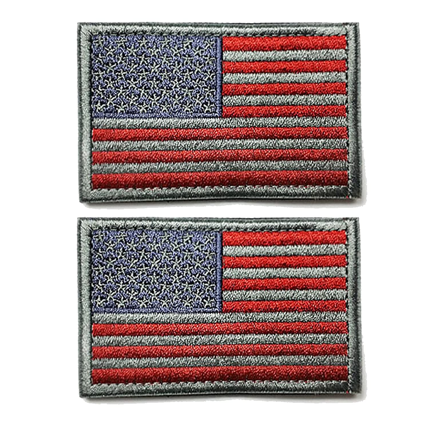 Grey and red Ogrmar Tactica American Flag Embroidered Patch USA United States of America Military Uniform Emblem Pack of 2