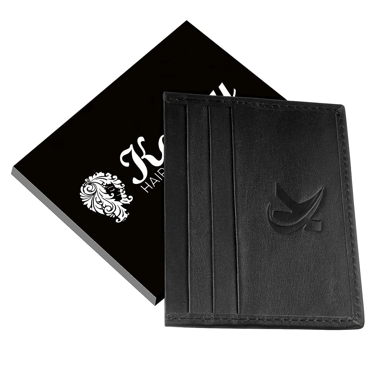 Cuir Porte-cartes Portefeuille, Porte monnaie crédit / debit étui Utile pour la Banque d'affaires ID de l'étudiant Oyster Cartes Ultra Slim Card Holder Mini Sac à main Organisateur hommes et femmes RFID blocage / 7 poches KANZY Noir K1 CHS-1