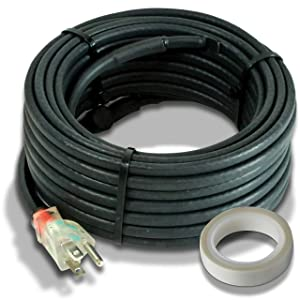 Heat Cable for Pipe Freeze Protection, 24 feet, with Built-in Thermostat and 16 Feet of High-Temp Installation Tape, Heavy-Duty, Self-Regulating, 120 volt