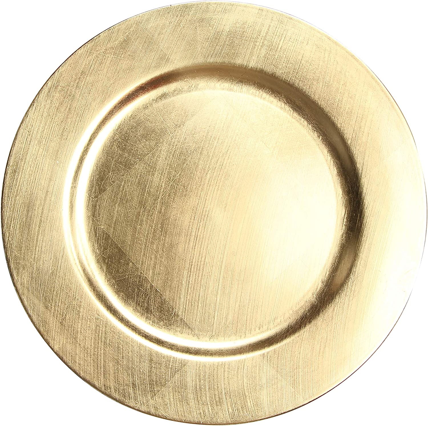 USA Party Flower 13 Inch Elegant Hand Brushed Finish Plastic Charger Plate Set of 12 (Gold)
