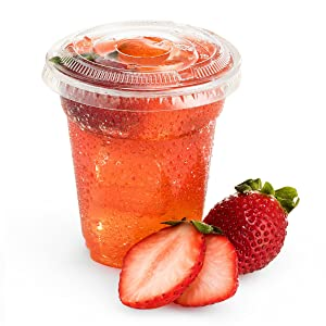 Green Direct 8 oz. Disposable Plastic Clear Cups With Flat Lids for Cold Drink - Bubble Boba - Iced Coffee - Tea - Smoothie - Pack of 100