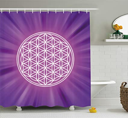 Ambesonne Sacred Geometry Shower Curtain Abstract Overlapping Circles On Spiritual Vibrant Background Print Fabric
