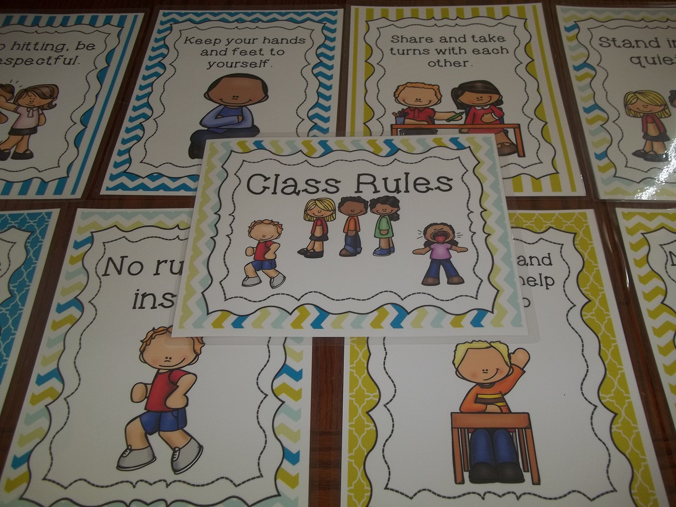 9 Laminated Class Rules Teacher Classroom Signs. 8.5 inches x 11 inches. Class Organization Charts. by Teach at Daycare