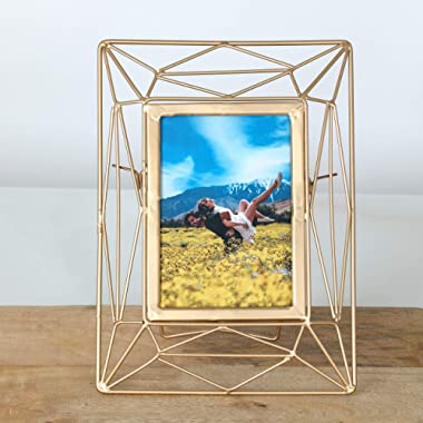 Folkulture Geometric Picture Frame 5x7 - Wall Mounting Photo Frames or Tabletop Display Wire Picture Frame for Desktop or Wall or Office Desk or Home Decor, Metal, Gold Finish