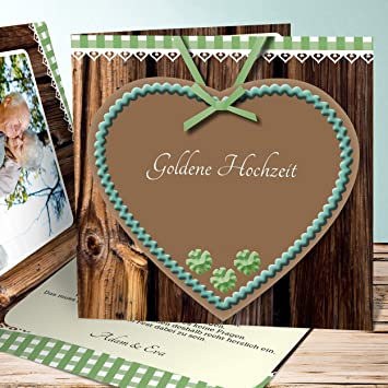Einladungskarte Goldene Hochzeit Selbst Gestalten Herz 120