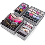 Abin Living Closet Underwear Organizer - Clothes Drawer Organizer for Underwear and Socks, Fold and Zip to Store, Grey