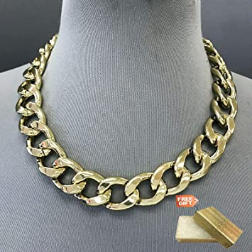 Amazon Com Gold Finished Chain 0 75 Thick Cuban Link Designer Inspired Hip Hop Necklace Set For Women Gold Cotton Filled Gift Box For Free Beauty
