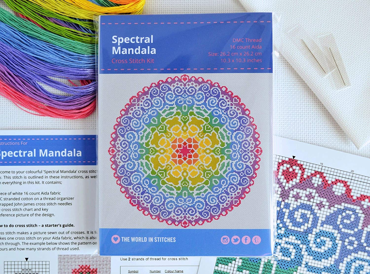 Spectral Mandala Cross Stitch Kit - Modern Design on 16 count Aida with DMC  Threads