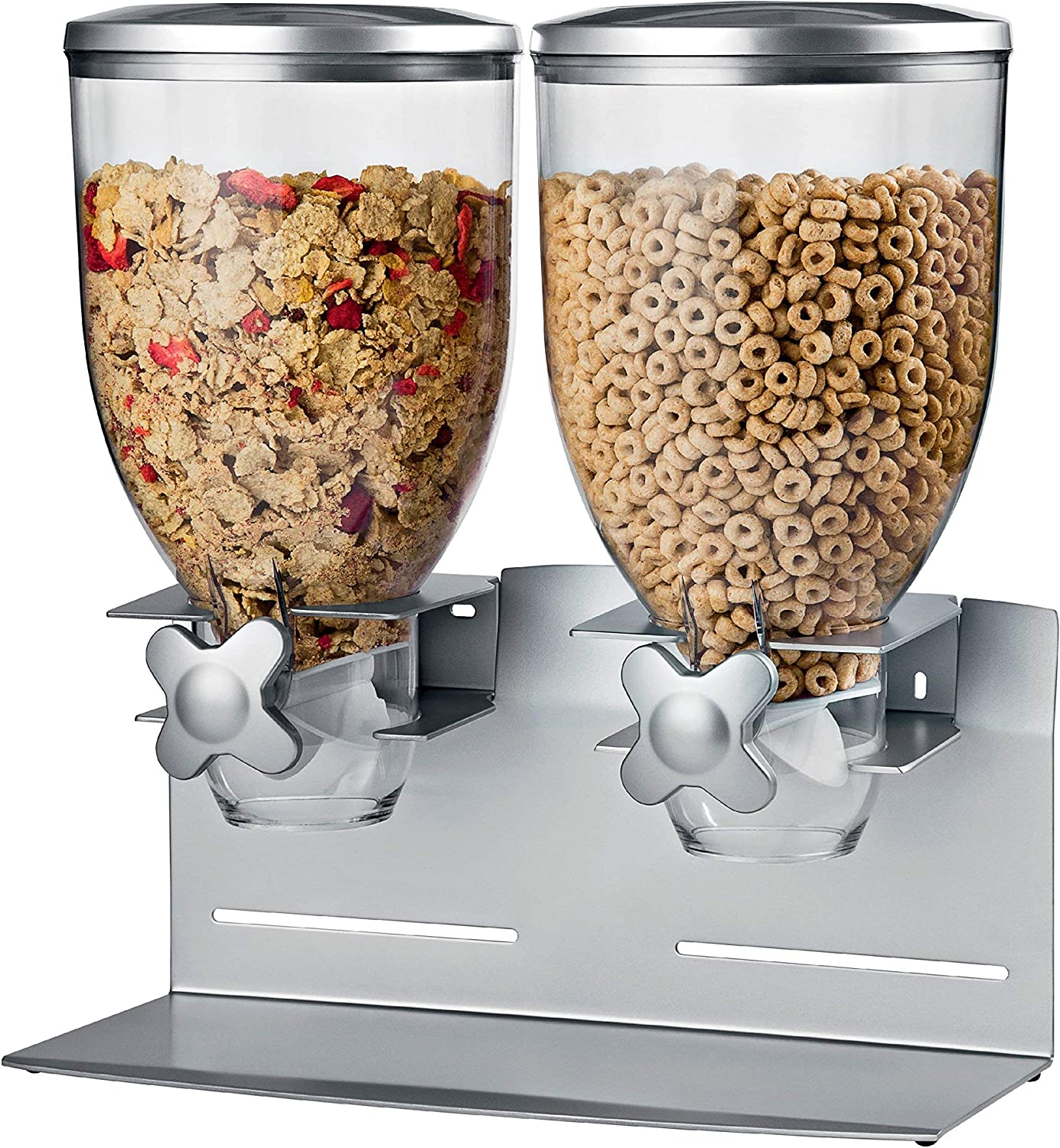 Honey-Can-Do KCH-06157 Professional Edition Dry Food Double Dispenser with Metal Countertop/Wall Mount, Dual Control, 17.5-Ounce Capacity, Silver, 17.5-Ounce Capacity