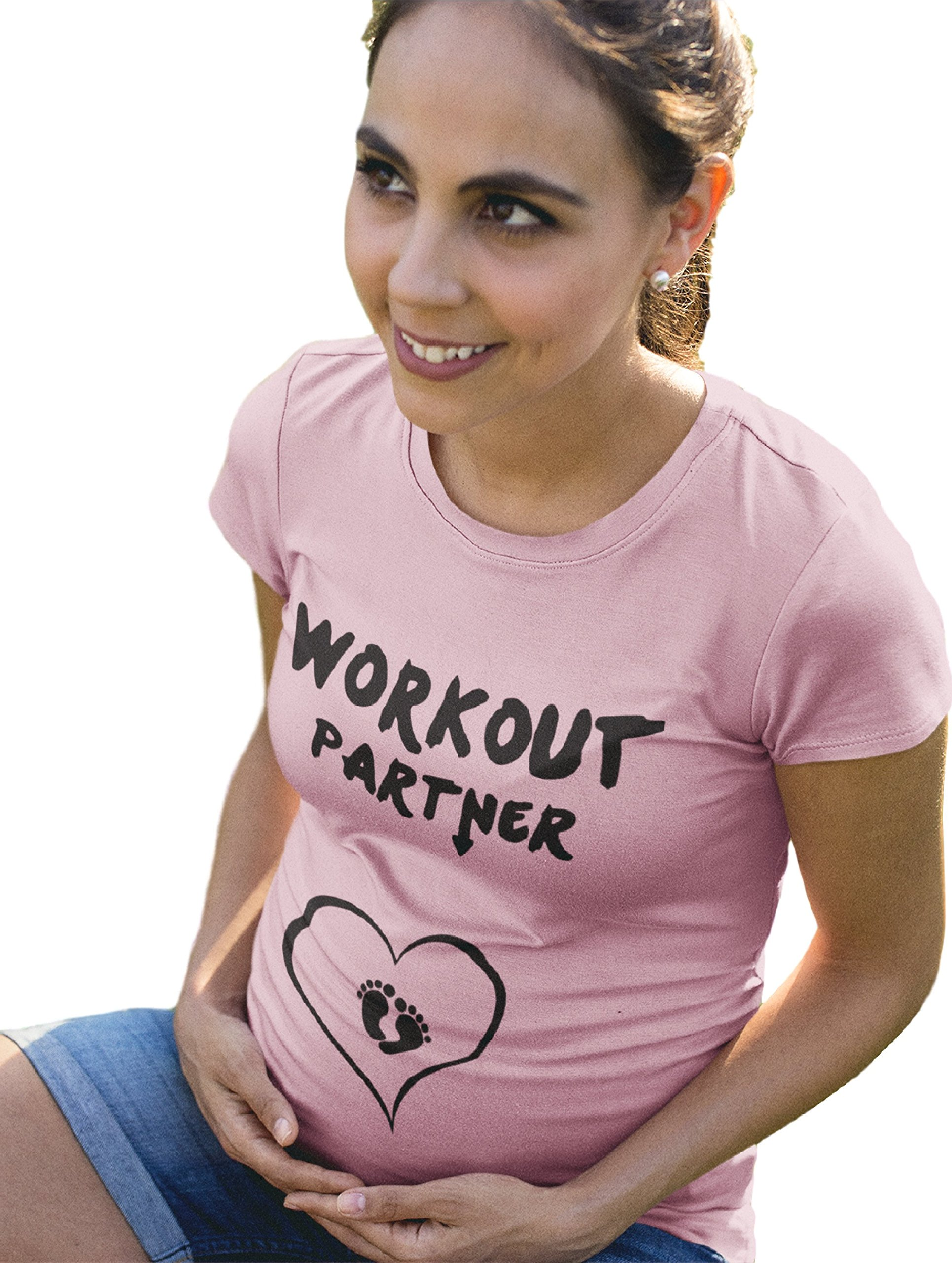 Workout Partner Fine Jersey Short Sleeve Ruched Side Maternity Tee (S, Soft Pink)