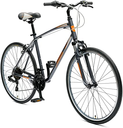 Critical Cycles Barron Hybrid Bike 21 Speed, Graphite and Orange, 16in (S) best touring bikes