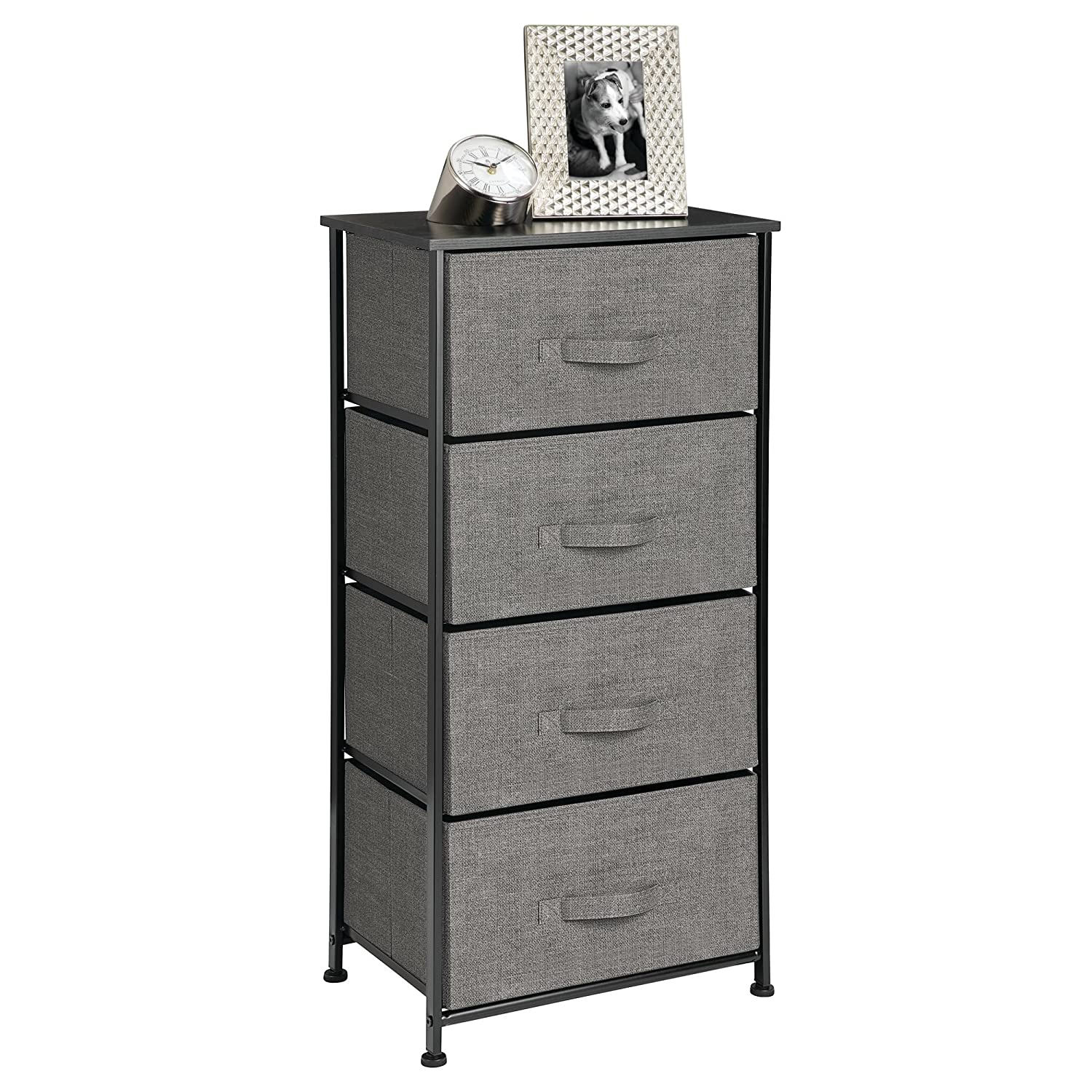mDesign Fabric 4-Drawer Dresser and Storage Organizer Unit for Bedroom, Dorm Room, Apartment, Small Living Spaces - Charcoal MetroDecor