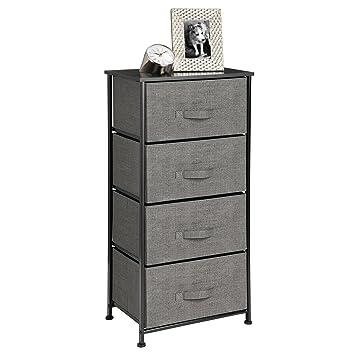 Mdesign Vertical Dresser Storage Tower S Y Steel Frame Wood Top Easy Pull Fabric