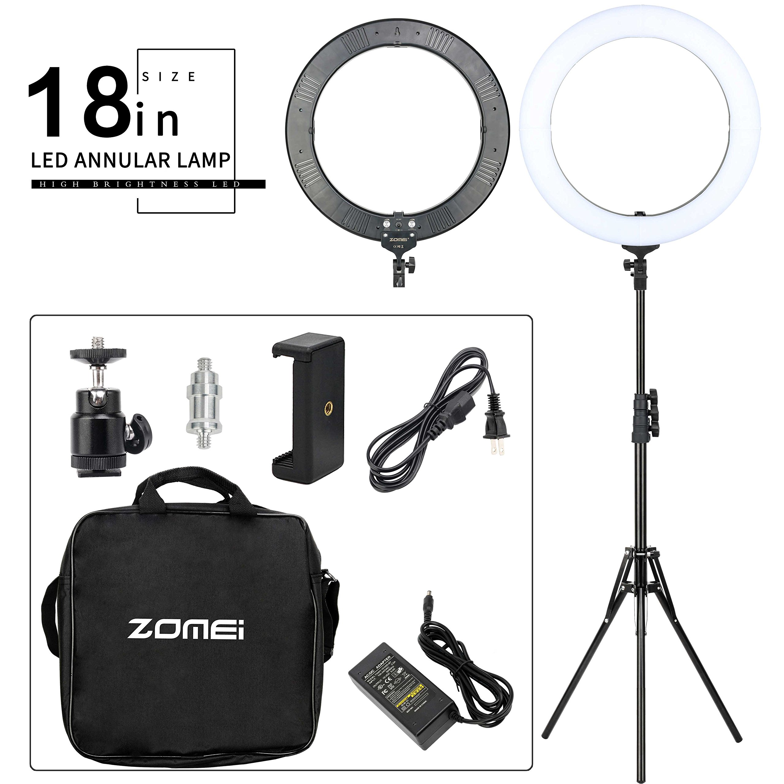 ZOMEI 18-inch Bi-Color Stepless Dimmable LED Ring Light Kitwith Stand 58W 5500K Output Hot Shoe Adapter for Outdoor Shooting Live Streaming Make Up and YouTube Video