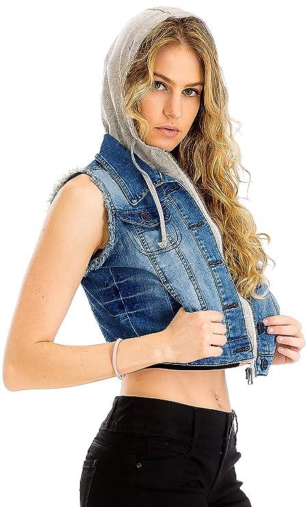 PINMUSE Women's Denim Vest Stretchy Nice Stone Washed W Hand Sanding S M L 1XL 2XL 3XL (1XL, Dark Blue)