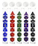 5 x 7(35ps)Polyhedral Dice Set for Dungeons & Dragons DND RPG MTG Table Games,Mixed Colors Dice with Storage Tube