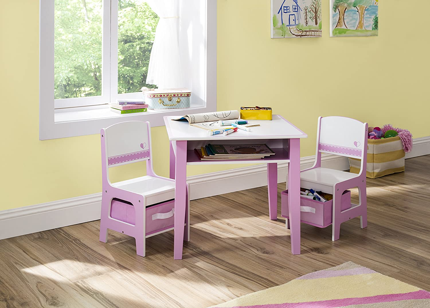 Amazon.com Delta Children Jack \u0026 Jill Storage Table \u0026 Chair Set Pink/White Baby & Amazon.com: Delta Children Jack \u0026 Jill Storage Table \u0026 Chair Set ...