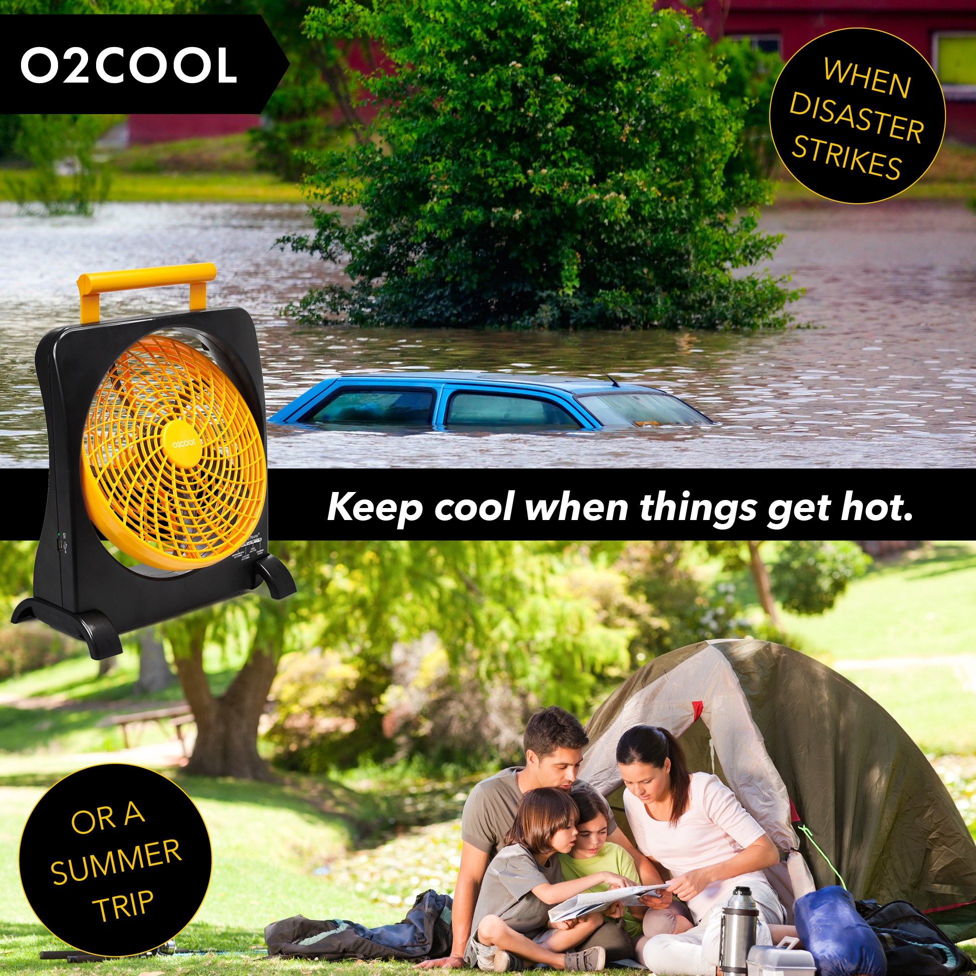 """O2COOL 10"""" Battery Operated Fan - Portable Smart Power Fan with AC Adapter & USB Charging Port for Emergencies, Camping & Travel Use (Orange) by O2COOL (Image #5)"""
