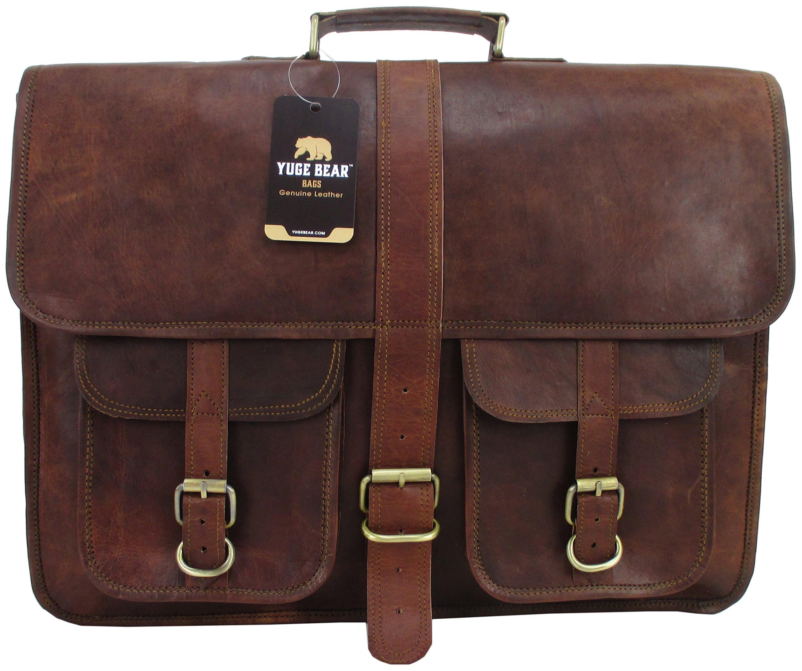 Yuge Bear 18'' B2P Mens Vintage Style Genuine Leather Laptop Bag Briefcase