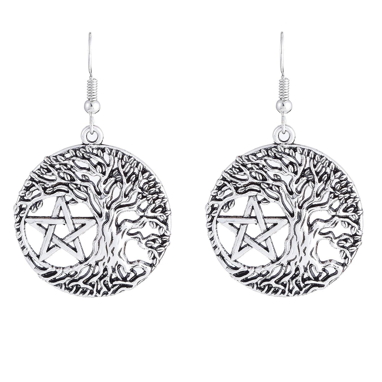 Tree of Life Yggdrasil Pentacle Pentagram Portugal Drop Earrings for Women YI WU KE JI B0756DLMF9_US