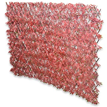 Expanding Fence With Artificial Red Maple Leaves: Leaf Trellis To Screen  Areas Of Your Garden
