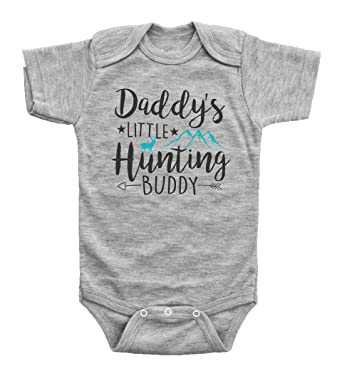 e859084b2 Amazon.com: Baffle Daddy's Little Hunting Buddy Onesie/Grey/White/SS/Long  Sleeve: Clothing