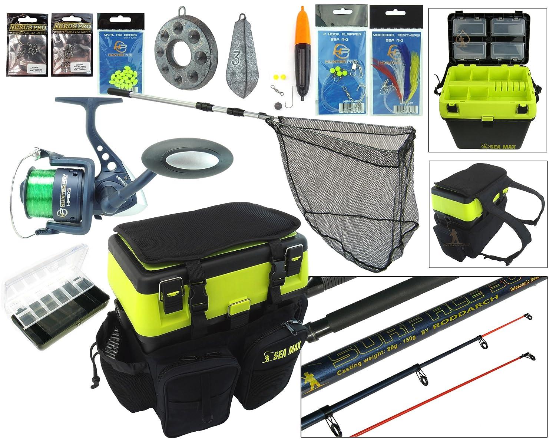 Sea Fishing Kit. Complete Sea Fishing Rod & Reel Set Including SEA MAX© Seat Box & Rucksack Roddarch