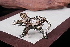 znewlook Leopard Figurine Trinket Jewlery Box Pewter Leopard at Rest Statue Wild Animal Home Decor (Dark Brown)