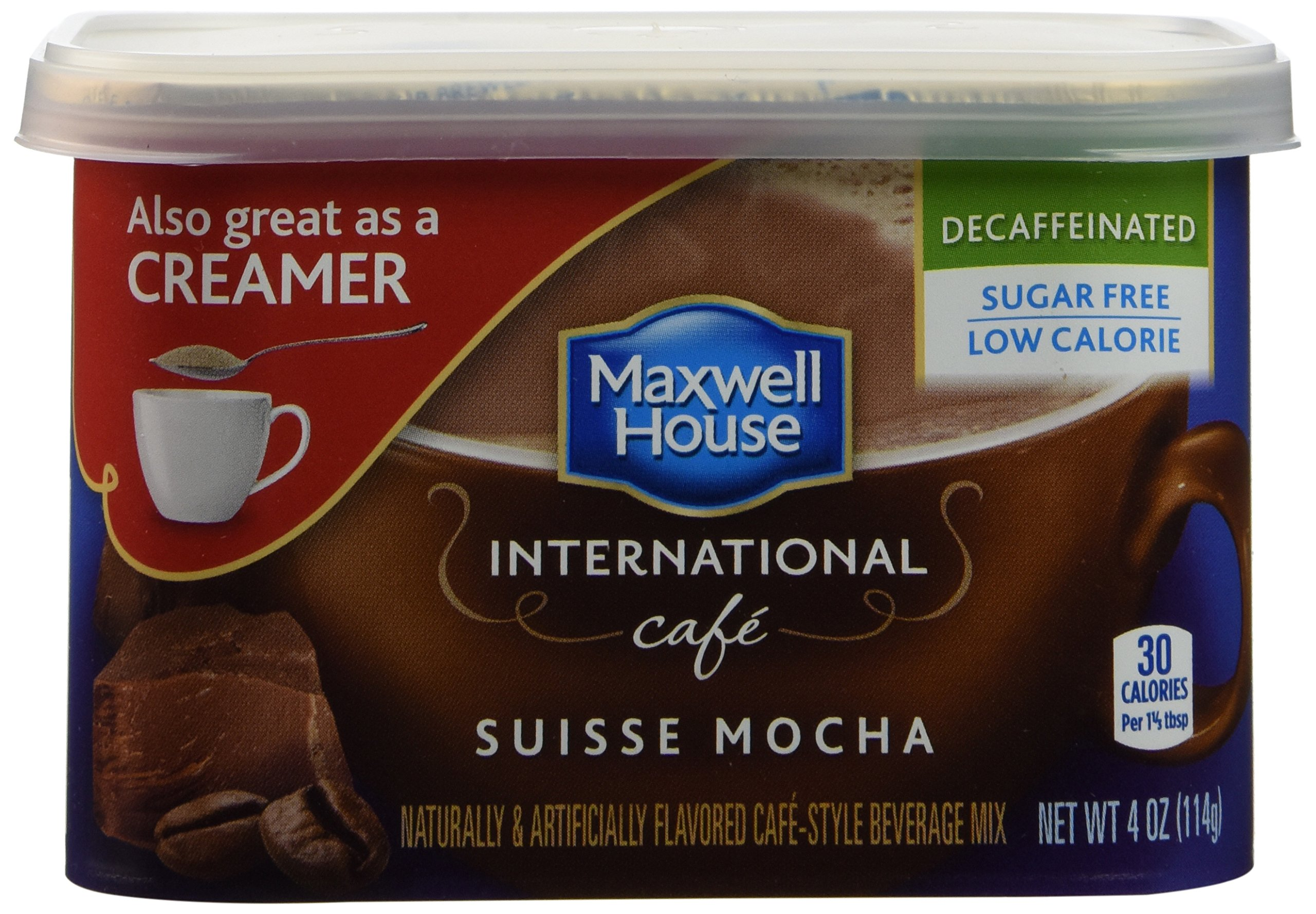 Maxwell House International Coffee Decaf Sugar Free Suisse Mocha Cafe, 4-Ounce Cans (Pack of 8)
