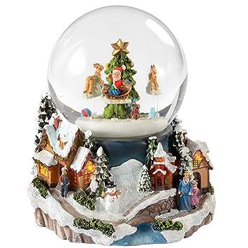 Weihnachtsdeko Schneekugel.Amazon De Werchristmas Weihnachtsdeko Schneekugel Mit Rotierendem
