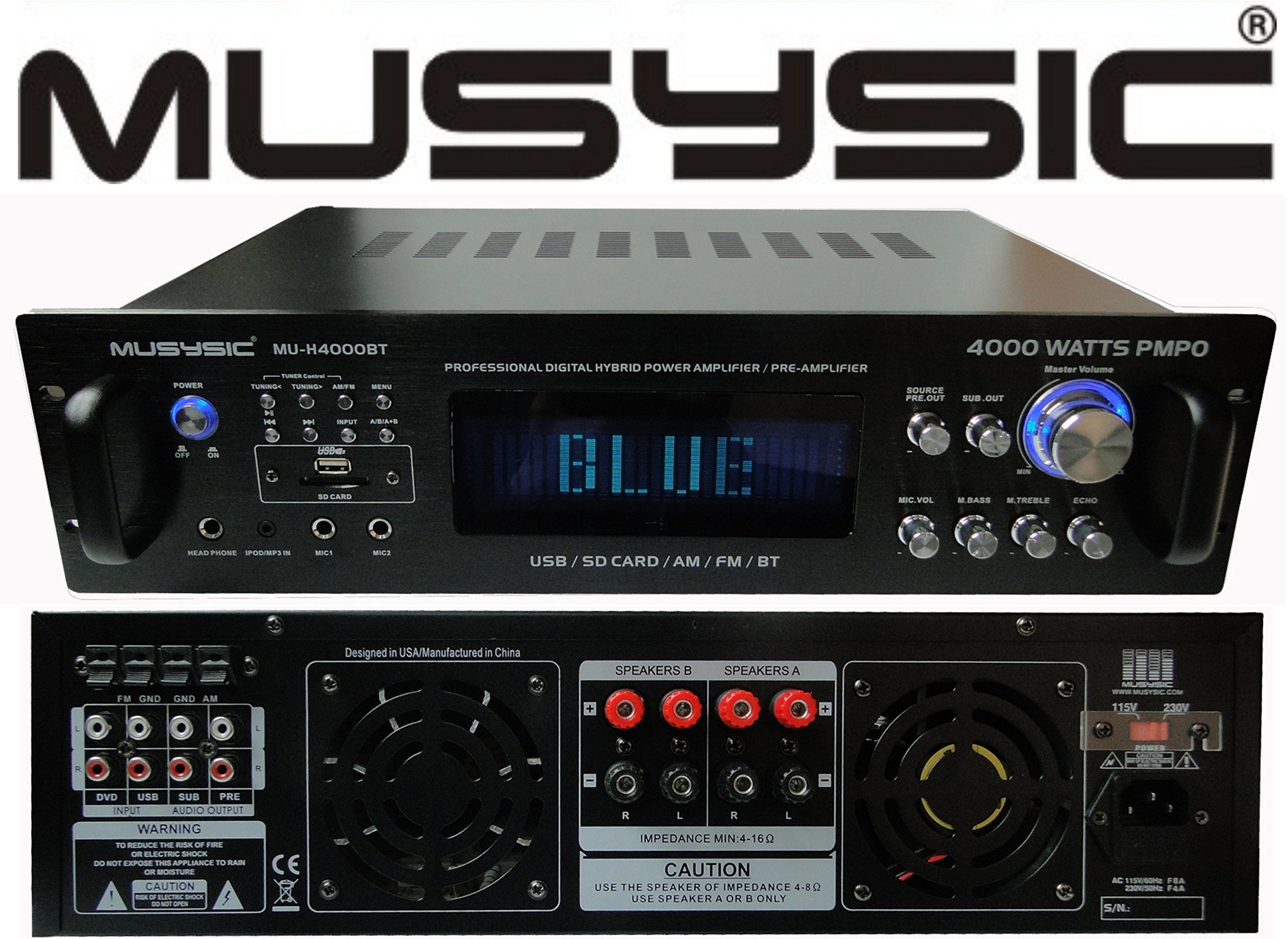 Professional 4000 Watts Hybrid Power Amplifier / Pre-Amplifier / Receiver Bluetooth AM/FM Tuner USB/SD Slot MP3 / iPod Input MU-H4000BT by MUSYSIC