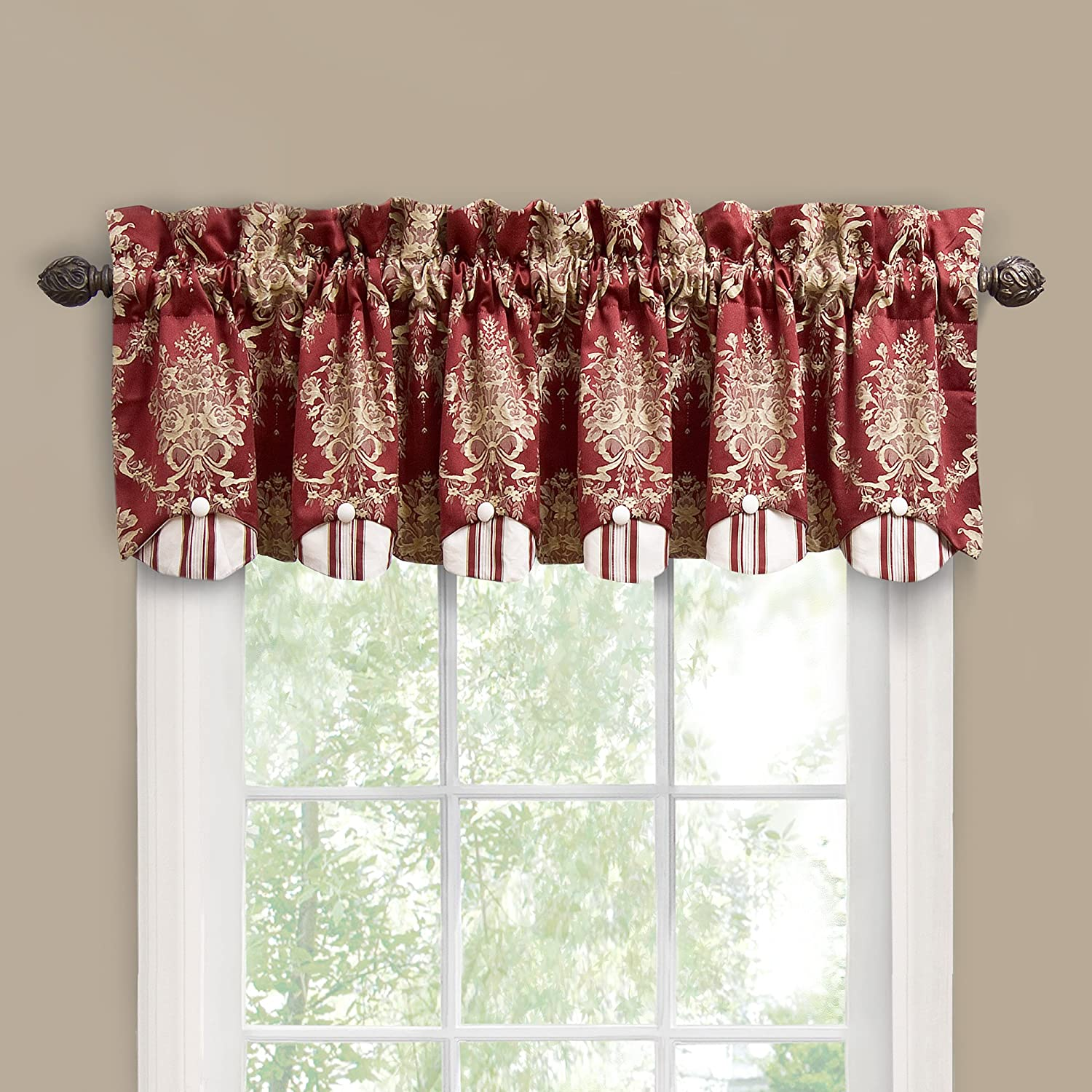 Waverly Rose Momento Window Valance, Merlot