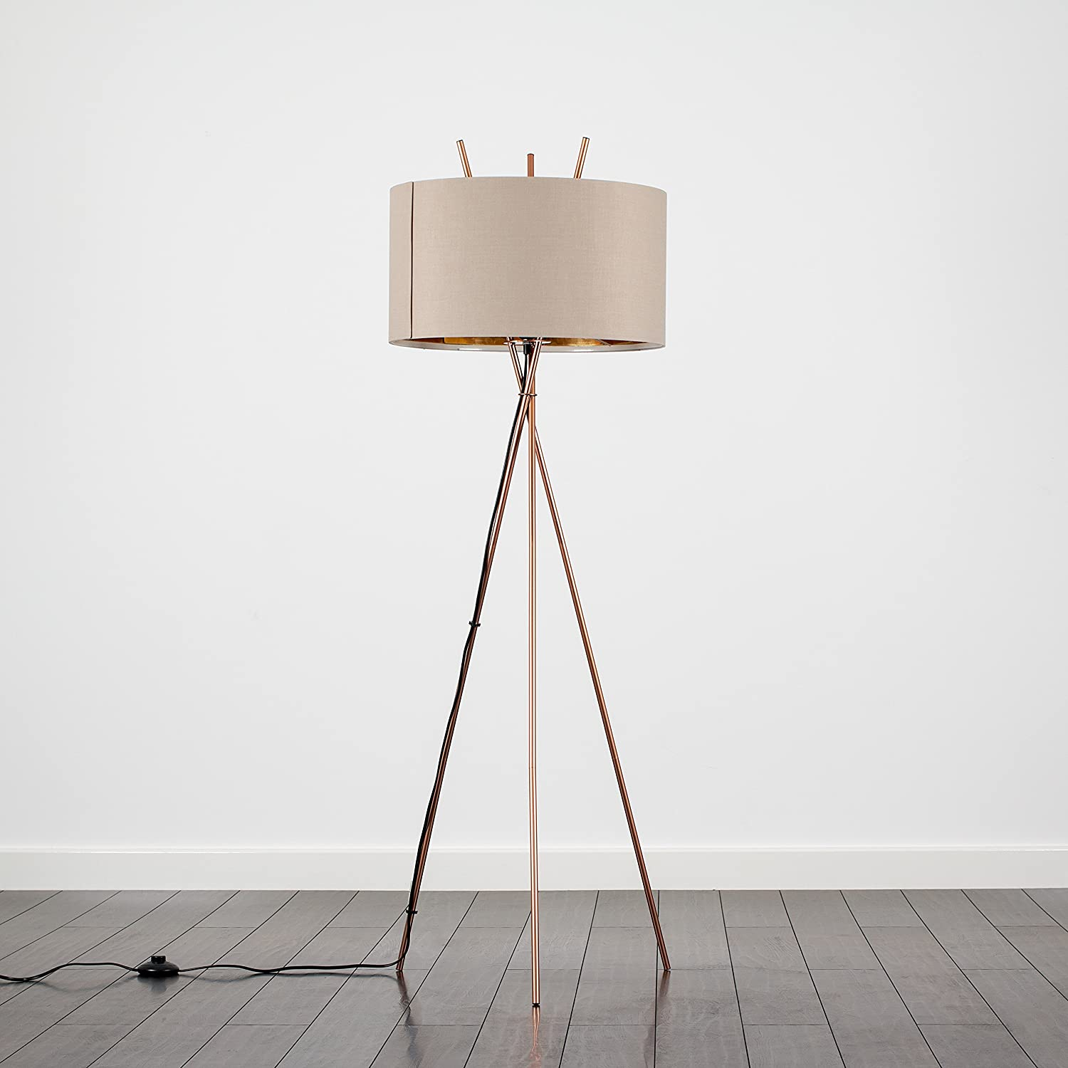 Modern Crossover Design Tripod Floor Lamp in a Copper Finish with a BeigeGold Shade Complete with a 10w LED GLS Bulb [3000K Warm White]