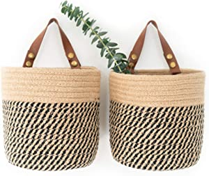 NA2 Wall Hanging Basket with Removable Strap (Set of 2) - Handmade Jute Woven Storage Bins - Wall Basket Decor (Jute and Black)