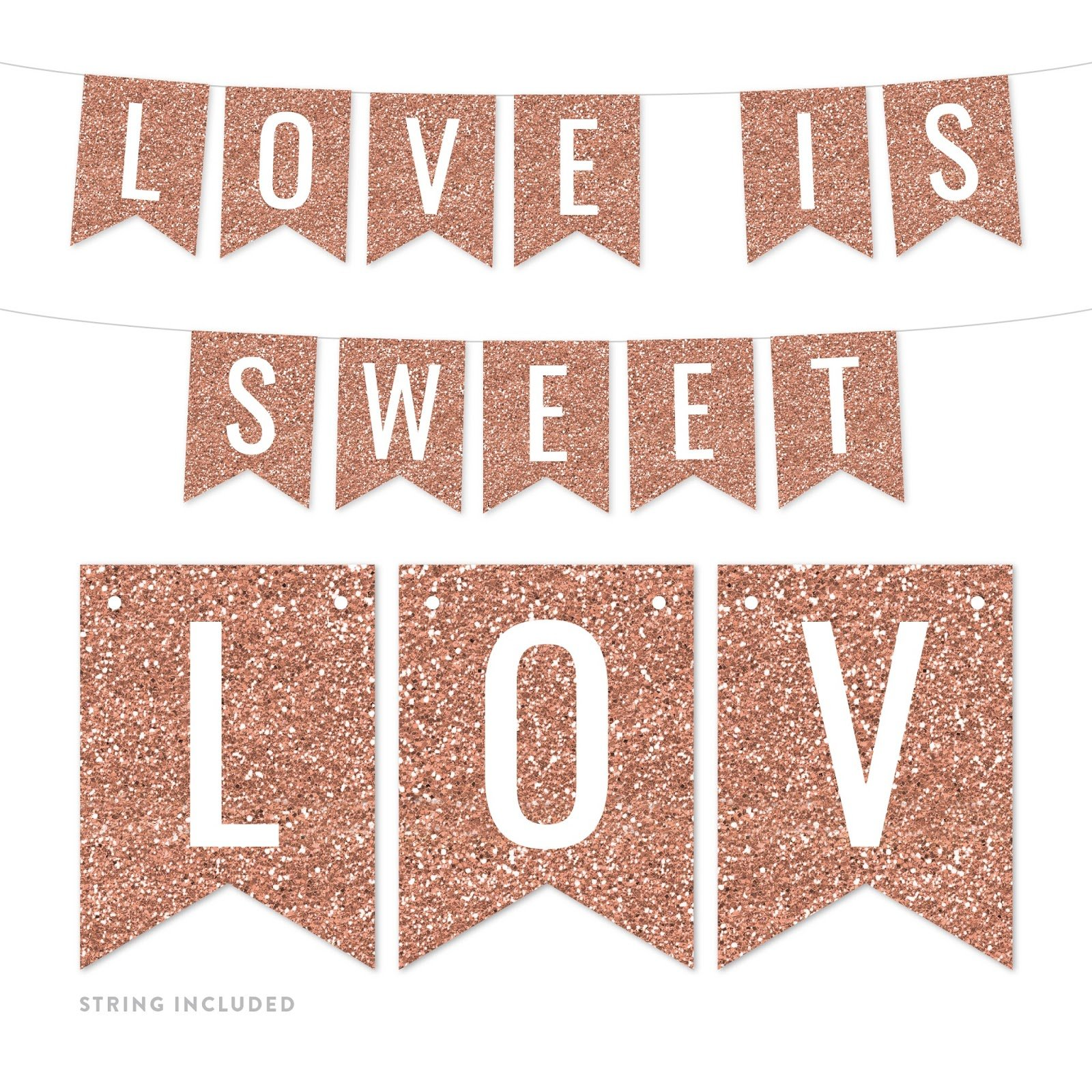 Andaz Press Rose Gold Faux Glitter Background Party Banner Decorations, Love is Sweet, Approx 5-Feet, 1-Set, Birthday Wedding Baby Shower Champagne Colored Hanging Pennant Decor